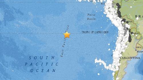 复活节岛附近海域发生5.2级地震震源深度10公里
